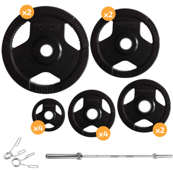 SKS Strength 140 Kg Barbell and Rubber Coated Weight Package