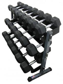 Force USA Rubber Hex Dumbbells 32.5Kg to 50Kg set + Rack